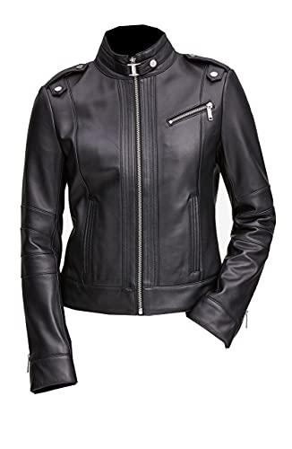 TIPTOP Christiana - Chaqueta de piel auténtica para mujer con estilo Moto Racer Biker Missy negro