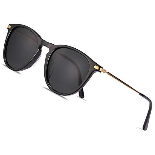 TSEBAN Vintage Damen Sonnenbrille Polarisierte Frauen Brille, Acetat-Rahmen & UV 400 Schutz,B - Schwarz,Einheitsgröße