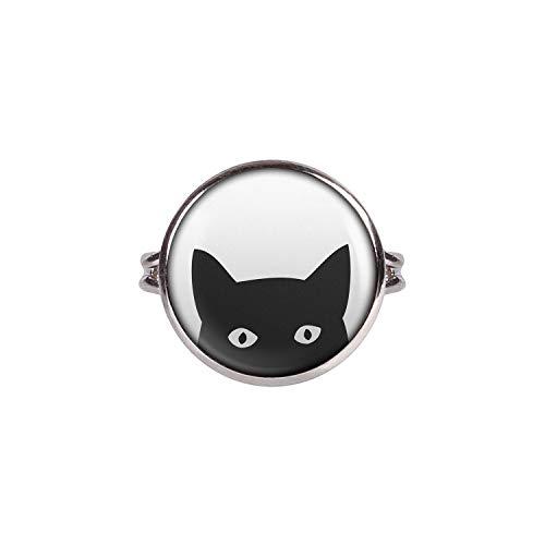 Mylery Ring mit Motiv Freche Katze Kater süß Silber 16mm