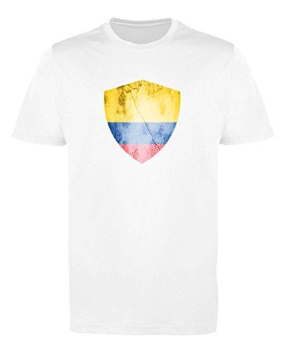 Comedy Shirts - Kolumbien Trikot - Wappen: Groß - Wunsch - Mädchen Trikot - Weiss/Royalblau Gr. 134-146
