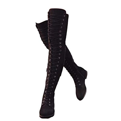 Mujer Botas Ante Tacón Plano Largo Botas Altas Otoño Zapatillas de Moda Botas Altas Zapatos de Señoras Botines Calzado Negras Marrón Verde 35-43 BK39
