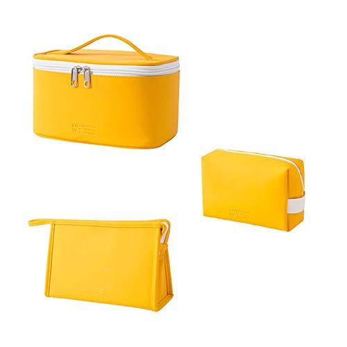 ABUKY Bolsa cosmética portátil de PU impermeable de gran capacidad, color caramelo, bolsa de almacenamiento de viaje, conveniente bolsa de aseo, (verde menta) 1 pieza, Amarillo (Amarillo) - EBHVY5EESE
