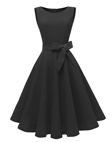 Dressever Women's 1950s Cocktail Boatneck Belted Sleeveless Dress with Pockets