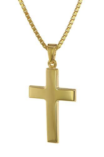 trendor Kreuz-Anhänger 24 mm Gold 333 (8 Kt.) mit plattierter Halskette 75221-50 50 cm
