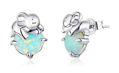 925 Sterling Silver Elephant Opal Stud Earrings for Women Stone Ear Pins Original Design Accessories Fine Jewelry