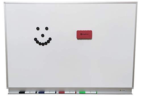 OrgaScout Whiteboard Set - 60cm x 90cm Querformat - Magnettafel mit lackierter Stahloberfläche, weiß und beschreibbar - mit Tafelwischer, 10 schwarzen Magneten und 4 farbigen Boardmarkern