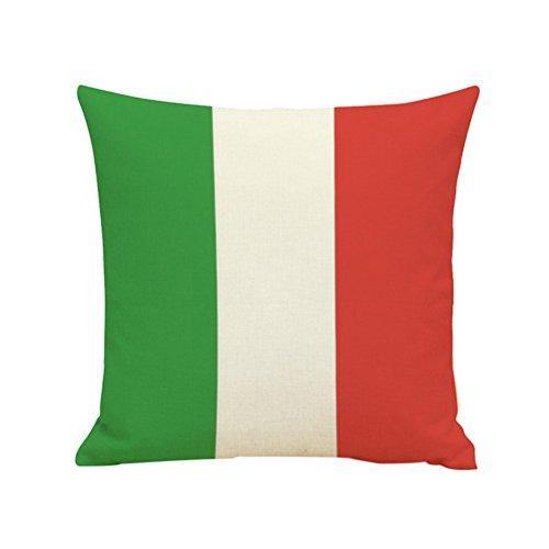 VORCOOL Lino Federa Italia Bandiera Modello Cuscino Decorativo Fall Lino Cuscino Cuscino Caso Home Divano Decorazione
