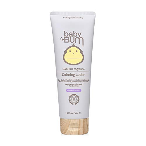 Baby Bum Calming Lotion   Moisturizing Baby Body Lotion for Sensitive Skin with Shea and Cocoa Butter  Lavender Coconut Fragrance  Gluten Free and Vegan   8 FL OZ