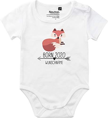 Baby Body Vintage Kleckerliese Sprüche jóvenes niñas Kurzarm con motivo Born 2020 Tiermotiv flecha nombre animales zorro Wunschname blanco 86 cm