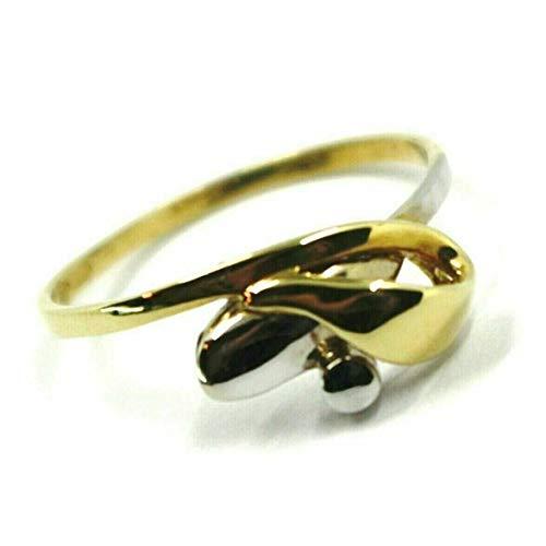 Anello in Oro Giallo e Bianco , 750 , 18K , infinito , centrale , nodo , fiocco intrecciato . MADE IN ITALY