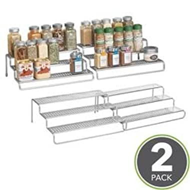 mDesign Adjustable, Expandable Kitchen Cabinet, Pantry, Shelf Organizer/Spice Rack - 3 Level Storage - Up to 25  Wide, Pack of 2, Silver Finish
