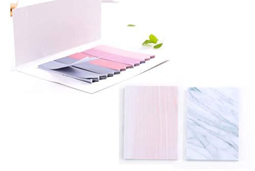 Brissa España. Set Notas Adhesivas Pequeños Bonitos Color Pastel Marmol. Marcapáginas Para Libros. Papeleria Bonita Kawaii.