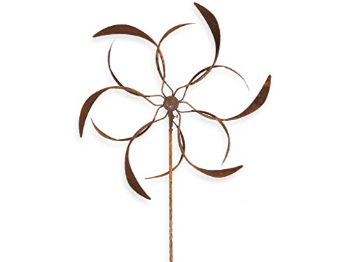 Crispe Metall Windrad 'Blume' - massives Windspiel Windmühle für den Garten - wetterfest und standfest - mit besten Kugellagern - aus Vollmetall mit Edelrost-Patina – Höhe 177 cm