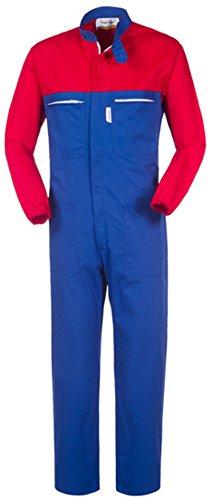 take time/lancelot Tuta da Lavoro Collo Coreana Blu Royal E Rosso Gabardine 245 G/M A41207 (XL)