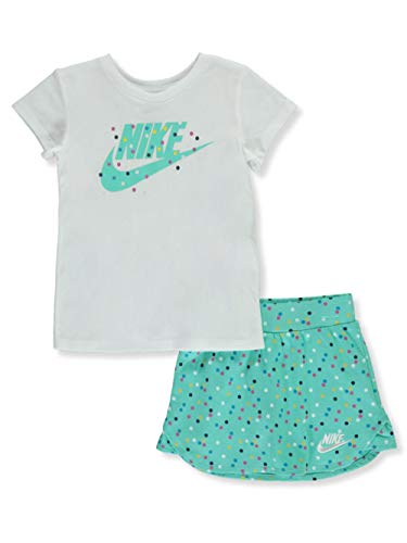Toddler Girls 2-pc. Dotted Scooter Skirt Set White/Emerald