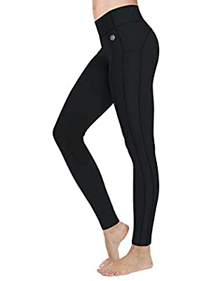 FitsT4 Women's Riding Tights Knee Patch Equestrian Breeches Horse Pants Ventilated Active Schooling Tights Black S by FitsT4 Sports