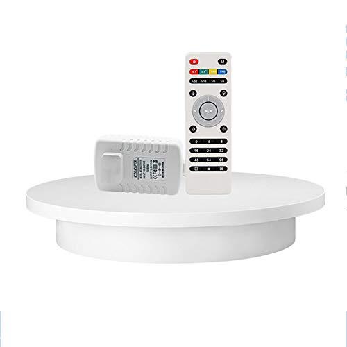 JRPT Automático 360° Plataforma Rotatoria para Fotografía de Productos,Base Giratoria Eléctrica con Remota,Varios Modos de Rotación/Blanco / 32cm Load 30kg