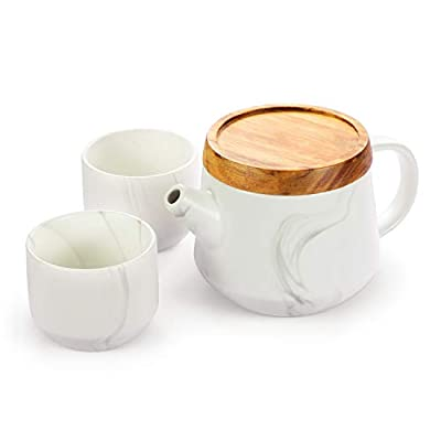 ROIMTEA Ceramic Teapot Set with 2 Matching Cups & Wooden Dripping Tray, Porcelain Tea Set with Removable Stainless Steel Infuser for Loose Leaf & Blooming Tea, 850ml/28oz Teapot, 150ml/5oz Cups, White