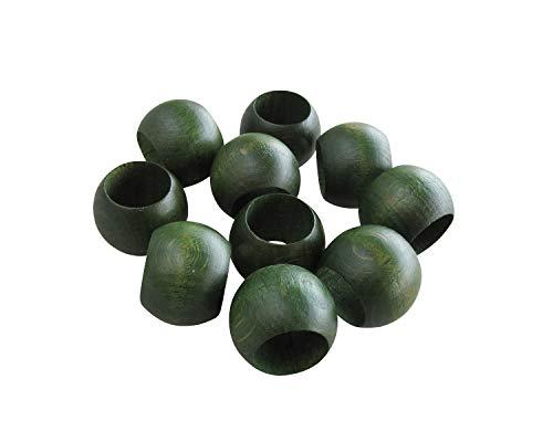 10 Schlaufenkugeln Zierkugeln aus Holz für Gardinen/Holzkugeln mit Loch/Ø Loch 16,5 mm/nordisch grün