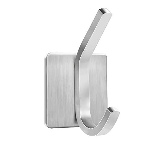 GothicBride Haken Selbstklebend,6 Stück Handtuchhalter aus Edelstahl Ohne Bohren für Bad Küche Tür(Silber)