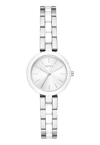 DKNY Damen-Uhren Analog Quarz One Size Silber Edelstahl, Keramik 32013260