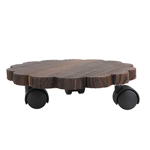 Hemoton Macetero con ruedas de madera, tabla para flores, rodillo para plantas, soporte para plantas, soporte para macetas, soporte para macetas para interior y exterior, jardín, decoración de 20 cm
