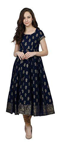 Dream Angel Fashion Womens Cotton Boat Neck Printed Anarkali Casual Dress Kurta...
