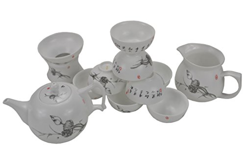 "All Hand-painted""Bone China"" Kongfu Tea Set Gong Fu Tea Set Gongfu Ceremony Gaiwan Gift Set (38)"