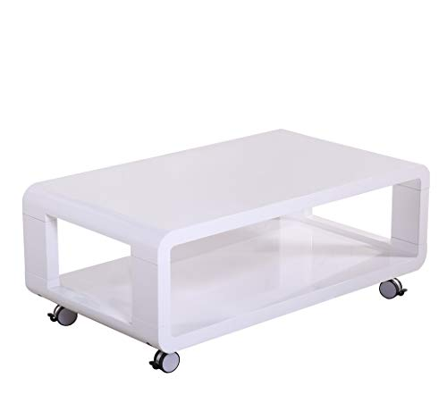 Contemporary Modern Coffee Table with Wheels and Shelf - Coffee Table for Living Room