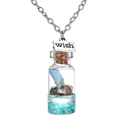 Collar De Botella De Deriva Creativa De Moda, Cadena De Clavícula, Collar con Colgante De Cristal Secreto para Mujeres Y Niñas, Cumpleaños