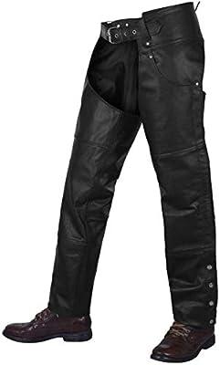 "Alpha Cycle Gear Motorcycle Chaps Plain Bikers Riding Pants Assless Cowboy Vintage Chaps Black (black, Waist 40"")"