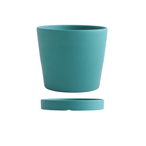 Pot Flower Pots Modern Succulents Containers with Drain Hole and Saucer Round Ceramic Flower Pots for All House Plants Flowers Herbs Flower Plant Pots (Color : Dark green, Size : C)