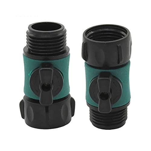 NEBSM 2PC Conector de Agua de jardín para el Adaptador de tubería de tubería de Grifo de Grifo 3/4 '' Hilo Macho a 3/4 '' Hilo Femenino con válvula Jardinería Riego