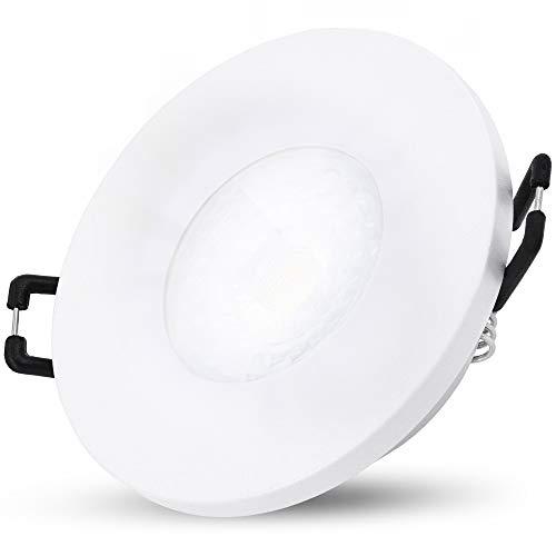 SSC-LUXon BEDA Einbauleuchte LED flach IP65 mit LED Modul tauschbar 5W neutralweiß - Bad Einbaulampe weiß 230V für Dusche Bad