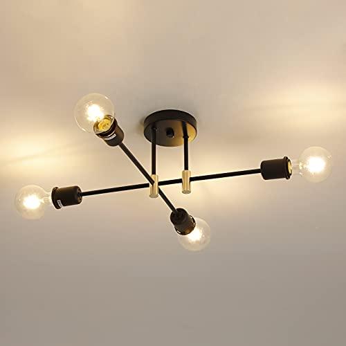 Lámparas de Techo Sputnik, Luces de Techo de 4 Brazos de 53cm de Diámetro, Lámparas de Techo Ajustables a 180 ° para Cocina, Comedor, Dormitorio, Sala de Estar