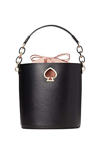 Iconic spade grommet. Removable and adjustable crossbody shoulder strap. Flat base provides upright structure. Faux lambskin lined interior with removable soft faille pouch. Imported. Measurements: Bottom Width: 11 in Depth: 5 3⁄4 in ...