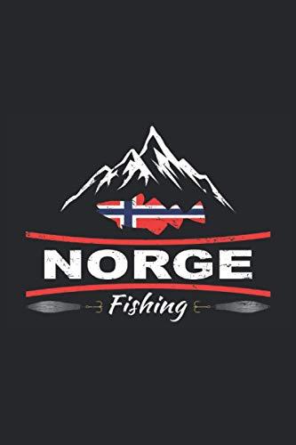 Norge Fishing: Cooles Fangbuch zum Norge Norwegen Angeln auf Kabeljau, Heilbutt, Makrelen und andere Fische mit einer Norwegen Flagge, einer Dorsch ... 6'' x 9'' (15,24cm x 22,86cm) DIN A5 Liniert