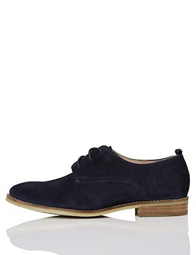Marca Amazon - FIND Leather Zapatos de Cordones Brogue, Azul (Navy), 36 EU