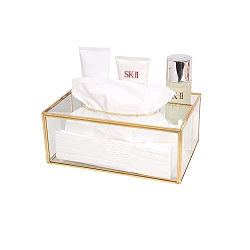 HARLIANGXY Caja de pañuelos dorada, práctica caja de pañuelos de metal y cristal para el baño o la oficina – Dispensador de pañuelos de papel retro