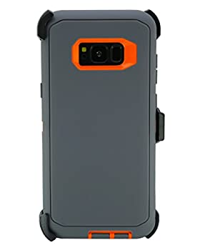 """WallSkiN Turtle Series Belt Clip Cases for Galaxy S8 Plus / S8+  6.2""""  3-Layer Full Body Life-Time Protective Cover & Holster & Kickstand & Shock Drop Dust Proof - Dark Grey/Orange"""
