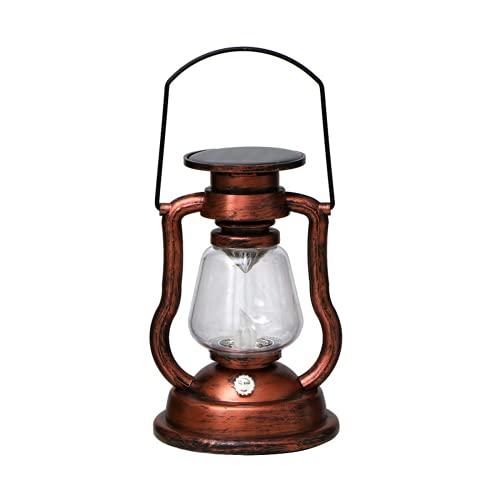 Lámpara solar de queroseno, linterna solar retro, lámpara de queroseno solar retro, lámpara portátil, decoración de jardín para el hogar al aire libre patio LED lámpara de vela (1 unidad)