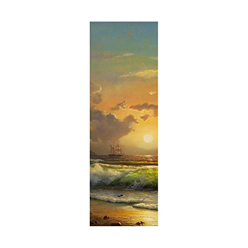 Pegatinas de nevera para cubrir puertas completas 3D Sunrise sobre el mar autoadhesivo para puerta de refrigerador, vinilo profesional, 50 x 180 cm (2 unidades)