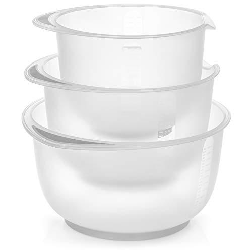 com-four® 3-teiliges Rührschüssel Set rutschfest - Backschüssel mit Stoppboden - Rührtopf mit Ausgießer - Spülmaschinengeeignet - Füllmenge 1,5 L, 2 L, 2,5 L (3teilig - grau)