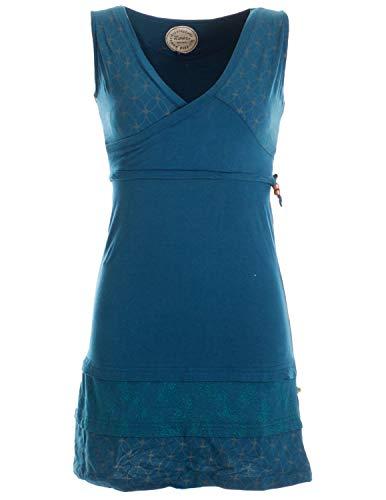 Vishes - Alternative Bekleidung - Kurzes ärmelloses Mini Sommerkleid Bedruckt - Tunika Türkis 34 (XS)