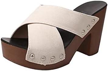 DTTBlue Women Fashion Summer Sandals Solid Rivet Platform Square High Heel Flock Cross Vamp Peep Toe Casual Ladies Outdoor Shoes Female
