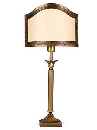 Helios Leuchten 403776/3 Vintage Lampe Leuchte   klassische Jugendstil Tischleuchte Tischlampe   Retro Schreibtischlampe echt Messing antik Altmessing   Halb-Lampenschirm Pergament   1xE14