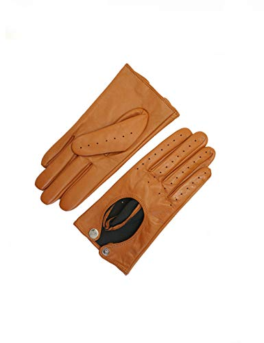"""YISEVEN Women's Sheepskin Driving Leather Gloves Motorcycle Full Finger Cycling lined Punk Gloves, Cognac 7.5""""/Large"""