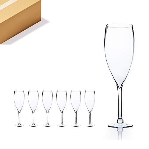 """WGV Champagne Glass Vase Bulk, Width 6"""", Height 20"""", (Multiple Sizes Choices) Clear Stemmed Red Wine Planter Floral Container, Wedding Centerpiece, Event Home Decor, 6 Pieces (VWV0620)"""