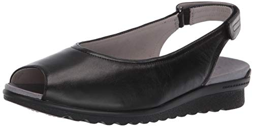 Aravon Women's Josie Slingback Ballet Flat, BLACK SMOOTH, 8.5 X-Wide