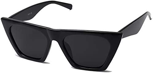 SOJOS Retro Square Cateye Polarized Women Sunglasses Trendy Style BELLA SJ2115 with Black Frame product image